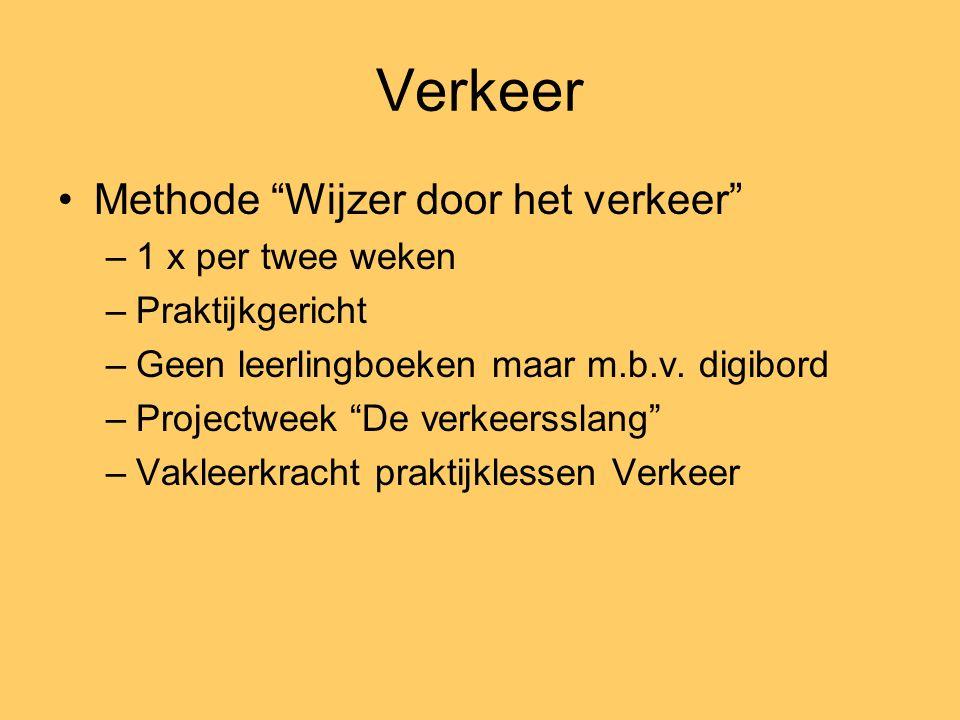 Verkeer Methode Wijzer door het verkeer –1 x per twee weken –Praktijkgericht –Geen leerlingboeken maar m.b.v.