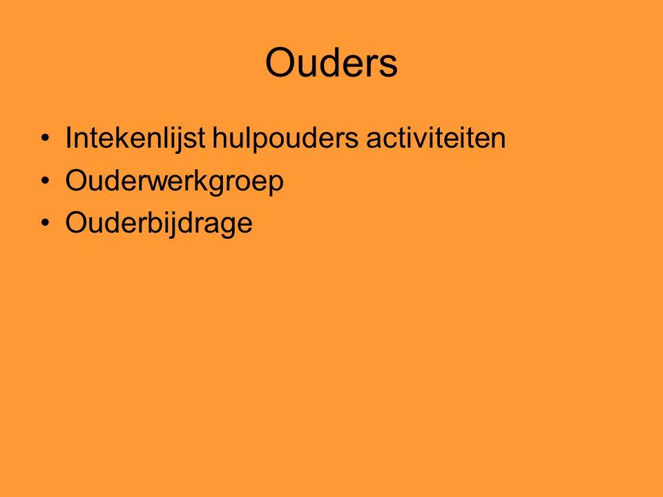 Ouders Intekenlijst hulpouders activiteiten Ouderwerkgroep Ouderbijdrage