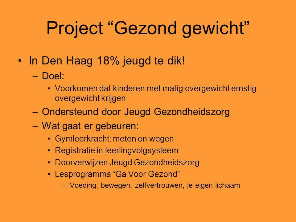 Project Gezond gewicht In Den Haag 18% jeugd te dik.