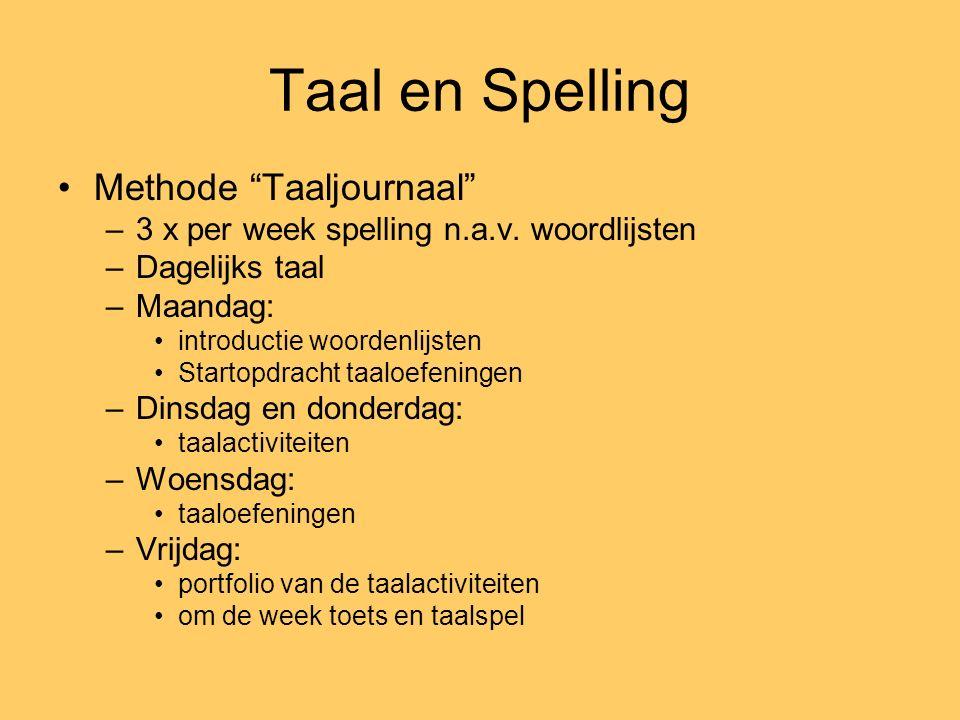 Taal en Spelling Methode Taaljournaal –3 x per week spelling n.a.v.