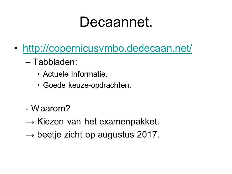 Decaannet. http://copernicusvmbo.dedecaan.net/ –Tabbladen: Actuele Informatie. Goede keuze-opdrachten. - Waarom? → Kiezen van het examenpakket. → beet