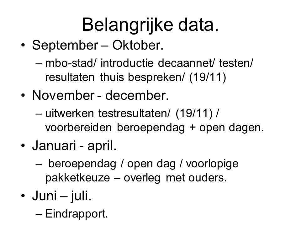 Belangrijke data. September – Oktober. –mbo-stad/ introductie decaannet/ testen/ resultaten thuis bespreken/ (19/11) November - december. –uitwerken t