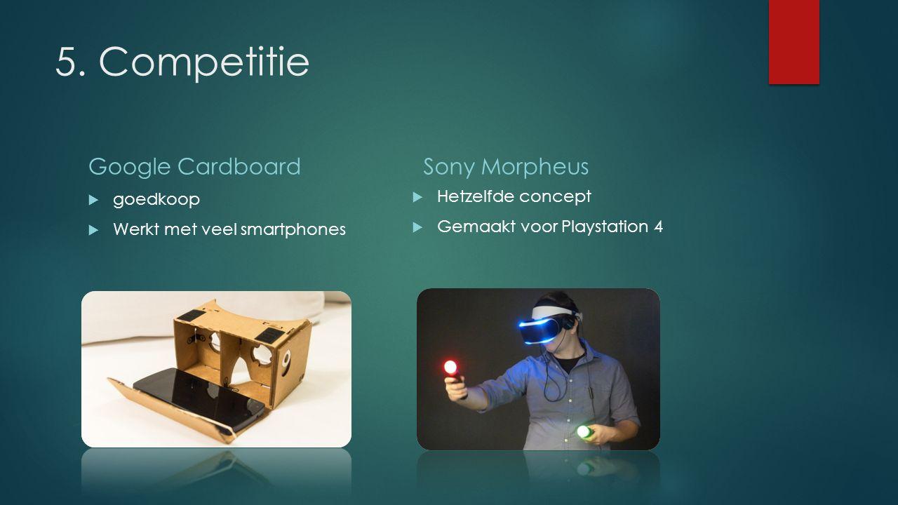 5. Competitie Google Cardboard  goedkoop  Werkt met veel smartphones Sony Morpheus  Hetzelfde concept  Gemaakt voor Playstation 4