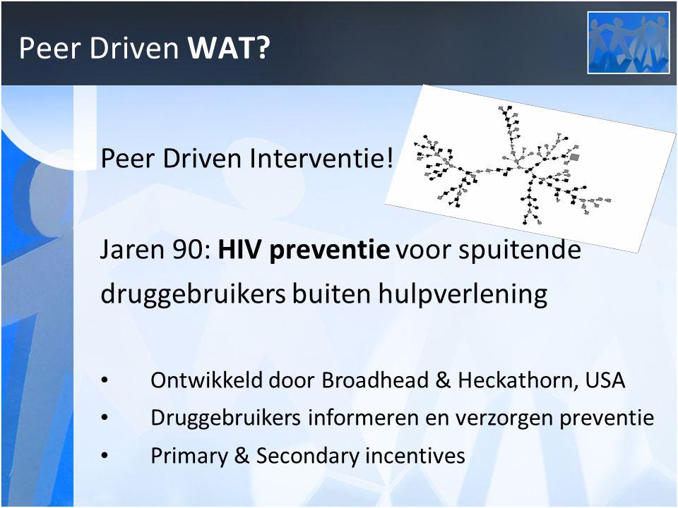 Kleine PDI Bevorderen therapietrouw door peer driven sociale support voor HIV+ druggebruikers Ontwikkeld door UCONN/Yale Sociale steun in triades — innemen medicijnen, recepten halen, afspraken nakomen, etc.