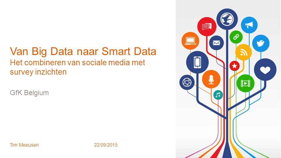 1 © GfK October 12, 2015 | Van Big Data naar Smart Data GfK Belgium Tim Meeusen22/09/2015 Van Big Data naar Smart Data Het combineren van sociale medi