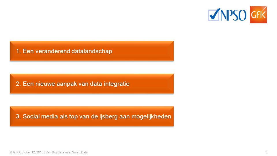 24 © GfK October 12, 2015 | Van Big Data naar Smart Data Let's stay in touch Tim Meeusen Research Executive – Public Services Tim.Meeusen@gfk.com Bert Hendrickx Senior Research Expert - DMI Bert.Hendrickx@gfk.com
