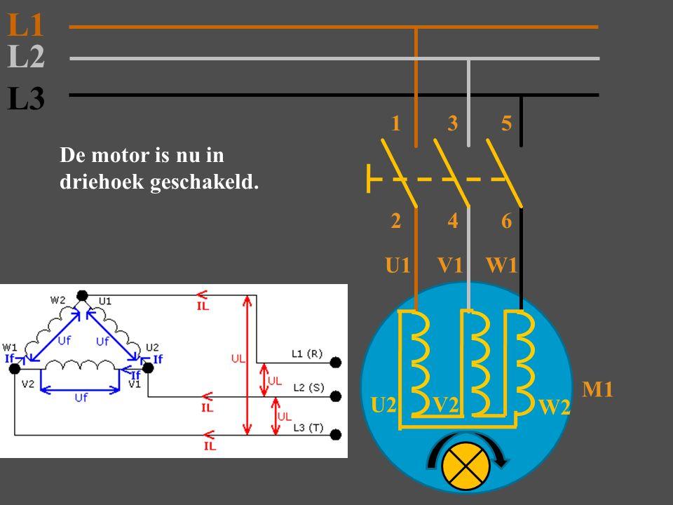 L3 M1 2 De motor is nu in driehoek geschakeld. L2 L1 135 46 U1V1W1 W2 V2 U2