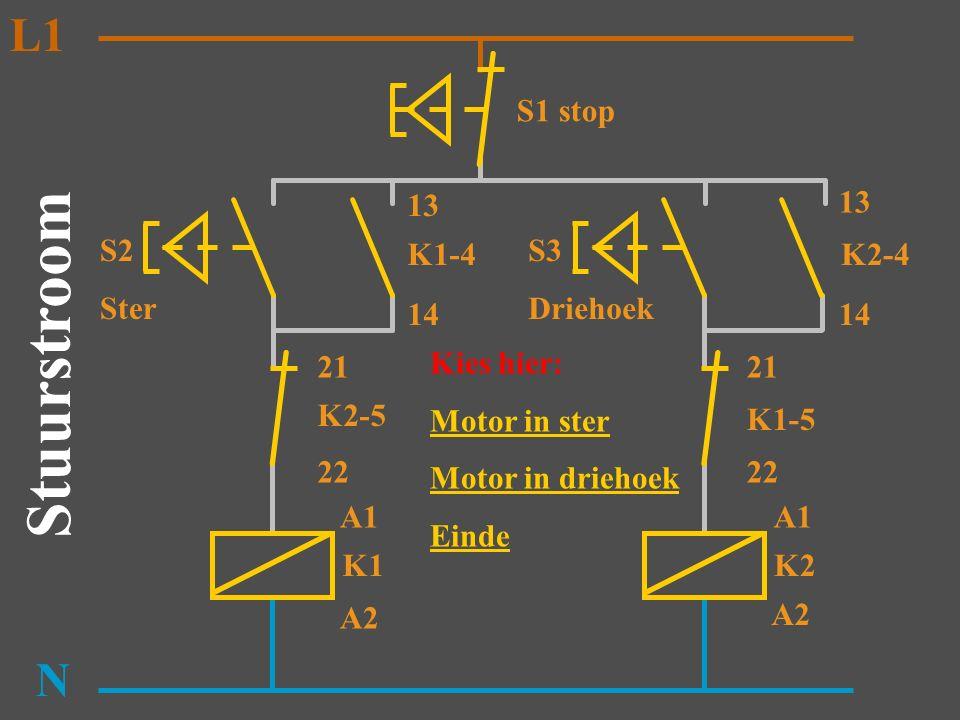 S2 Ster K1 N K2-5 K1-4 13 14 A1 A2 Stuurstroom L1 S3 Driehoek K2 K1-5 K2-4 13 14 A1 A2 21 22 21 S1 stop Als S2 ingedrukt wordt zal M1 in ster draaien