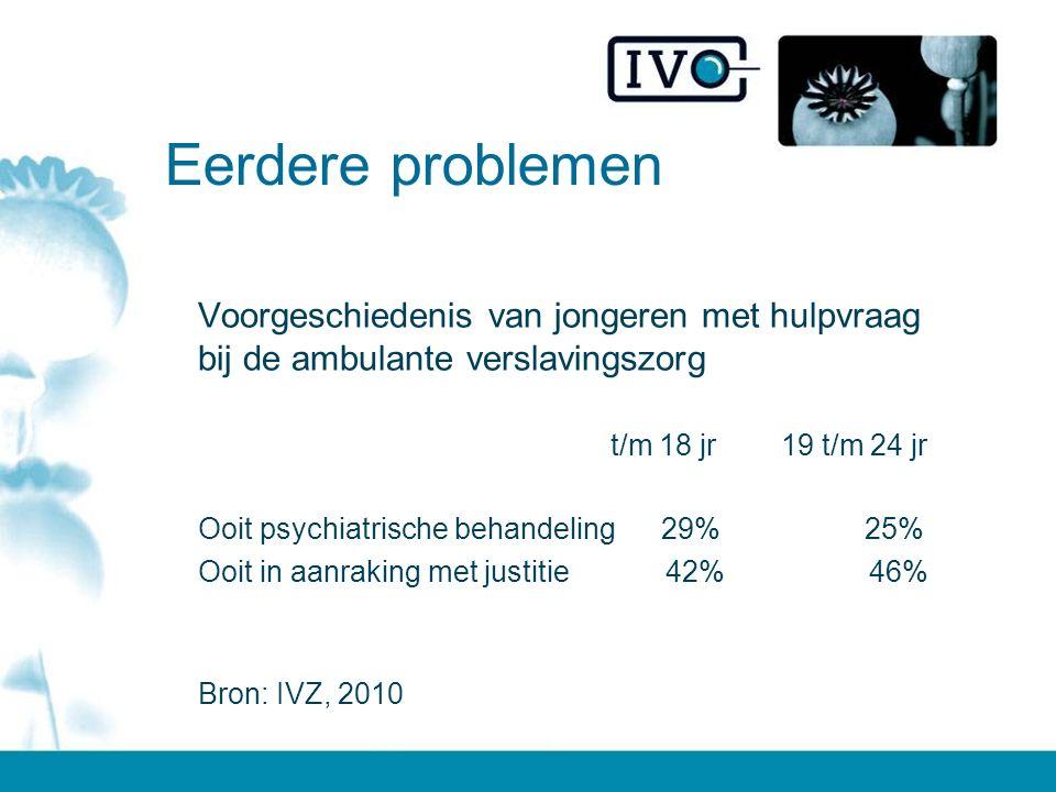 Eerdere problemen Voorgeschiedenis van jongeren met hulpvraag bij de ambulante verslavingszorg t/m 18 jr 19 t/m 24 jr Ooit psychiatrische behandeling 29% 25% Ooit in aanraking met justitie 42% 46% Bron: IVZ, 2010