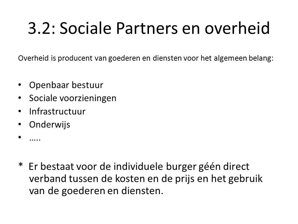 3.2: Sociale Partners en overheid Overheid is producent van goederen en diensten voor het algemeen belang: Openbaar bestuur Sociale voorzieningen Infrastructuur Onderwijs …..
