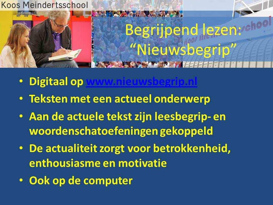 Digitaal op www.nieuwsbegrip.nlwww.nieuwsbegrip.nl Teksten met een actueel onderwerp Aan de actuele tekst zijn leesbegrip- en woordenschatoefeningen gekoppeld De actualiteit zorgt voor betrokkenheid, enthousiasme en motivatie Ook op de computer