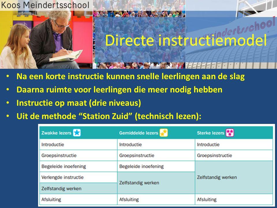Na een korte instructie kunnen snelle leerlingen aan de slag Daarna ruimte voor leerlingen die meer nodig hebben Instructie op maat (drie niveaus) Uit de methode Station Zuid (technisch lezen):