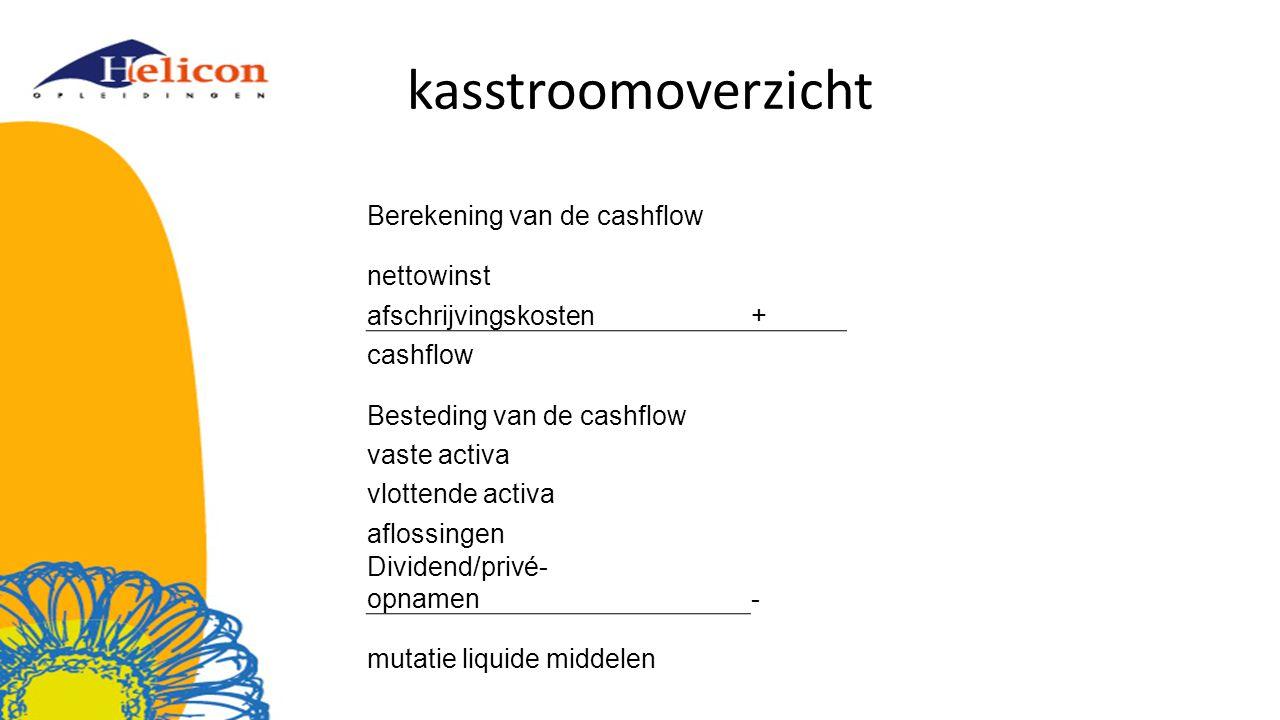 kasstroomoverzicht Berekening van de cashflow nettowinst afschrijvingskosten+ cashflow Besteding van de cashflow vaste activa vlottende activa aflossingen Dividend/privé- opnamen - mutatie liquide middelen