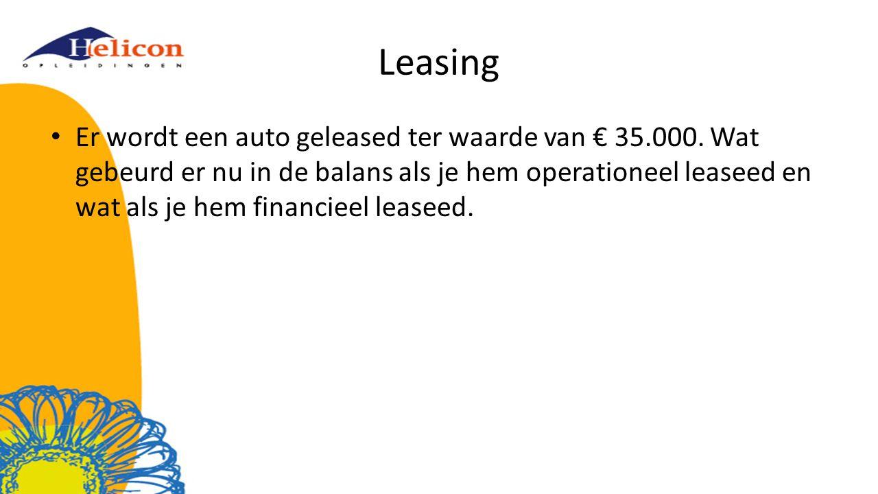 Leasing Er wordt een auto geleased ter waarde van € 35.000.