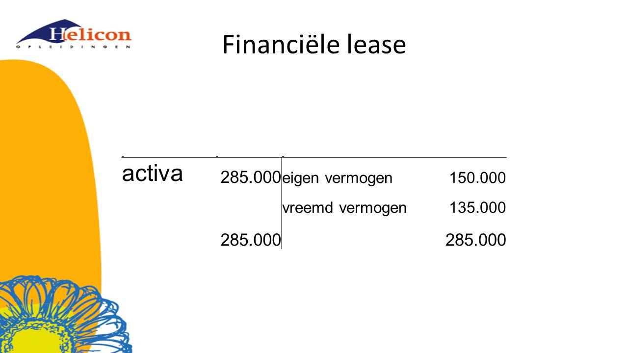 Financiële lease activa 285.000 eigen vermogen150.000 vreemd vermogen135.000 285.000