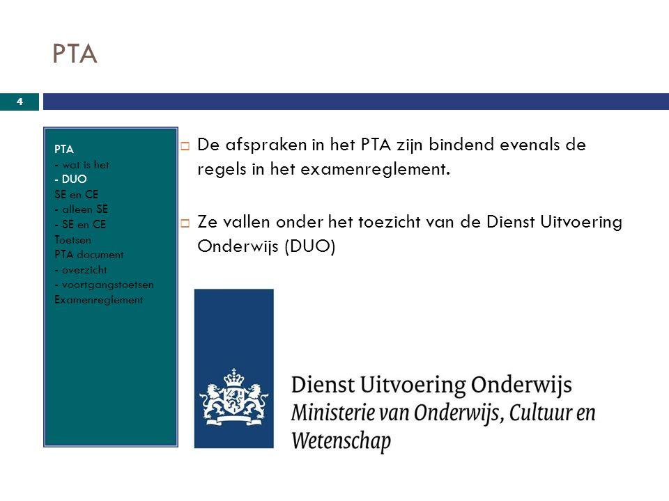 PTA PTA - wat is het - DUO SE en CE - alleen SE - SE en CE Toetsen PTA document - overzicht - voortgangstoetsen Examenreglement  De afspraken in het