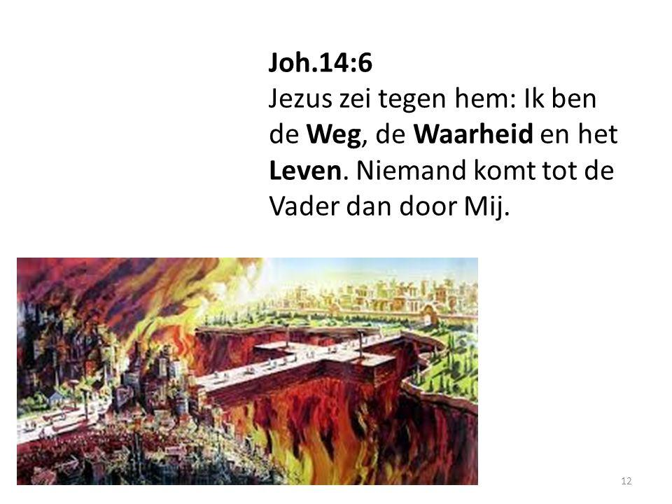 12 Joh.14:6 Jezus zei tegen hem: Ik ben de Weg, de Waarheid en het Leven.