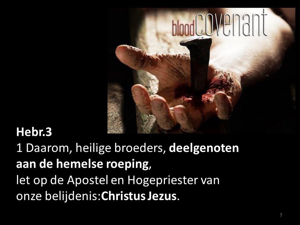 3 Hebr.3 1 Daarom, heilige broeders, deelgenoten aan de hemelse roeping, let op de Apostel en Hogepriester van onze belijdenis:Christus Jezus.