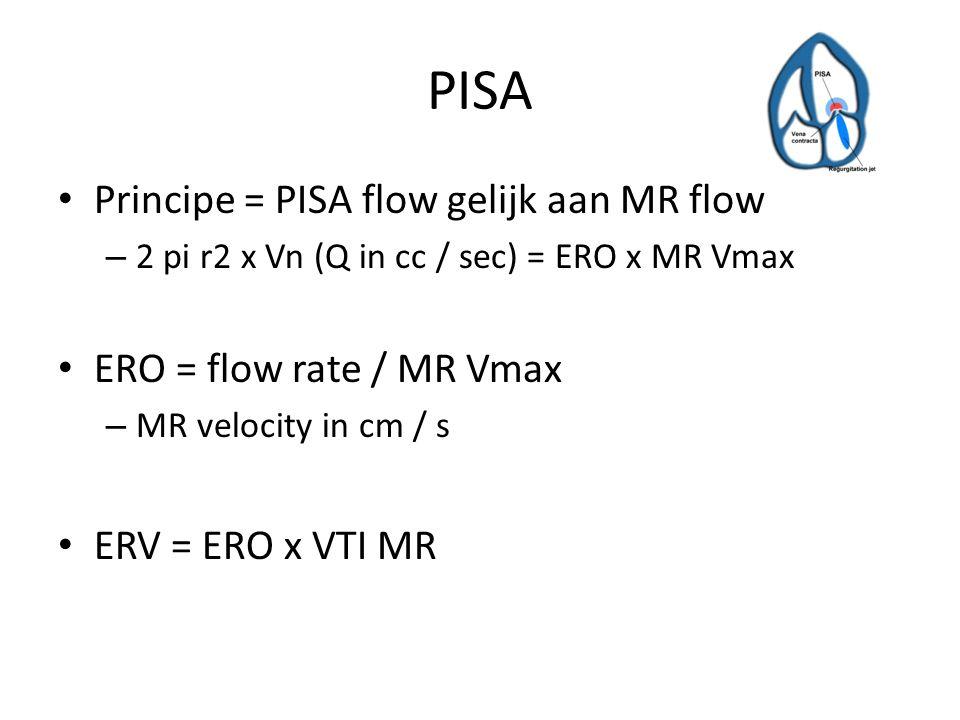 Bernouilli Snelheid is een schatting van de drukgradient over een klep, naar aanleiding van de eerste wet van behoud van energie (Newton) Vereenvoudigde vergelijking – Drukgradient = 4 x v 2 – Niet meegenomen: deceleratie na klep en viscositeit bloed Wel voor berekening: – Stenotische klep (AS) – PH met TI signaal + RAP (5/10/15) – LVOT contour en VTI – Snelheid VSD: LVsp – PGjet = RVsp = sPAP Een lage snelheid over VSD betekent een hoge sPAP – Eind diastolische snelheid PI jet: drukberekening is edRVdruk + RAP – Schatting PVR – MR (Dp/Dt): LV pressure increase early systolic: EH mmHg/sec = 32/tijdsinterval in sec Niet te gebruiken bij dubbele klepvitiae, bij aorta ascendens van minder dan 30mm (pressure recovery), bij V1 > 1 m/s