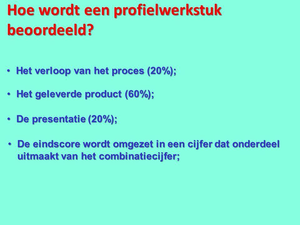 Hoe wordt een profielwerkstuk beoordeeld? Het verloop van het proces (20%);Het verloop van het proces (20%); Het geleverde product (60%);Het geleverde
