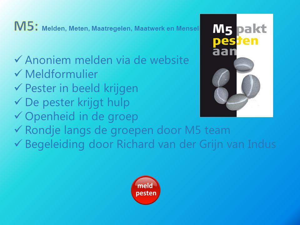 Anoniem melden via de website Meldformulier Pester in beeld krijgen De pester krijgt hulp Openheid in de groep Rondje langs de groepen door M5 team Be