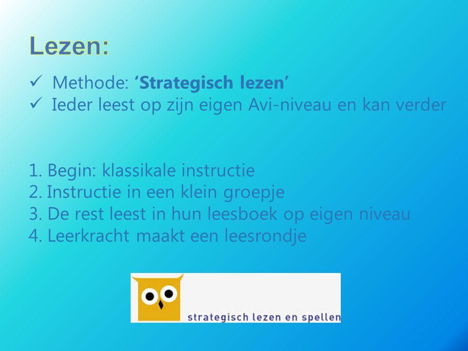 Methode: 'Strategisch lezen' Ieder leest op zijn eigen Avi-niveau en kan verder 1. Begin: klassikale instructie 2. Instructie in een klein groepje 3.