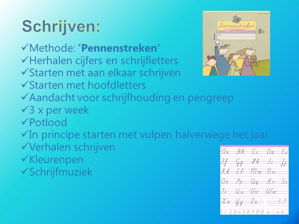 Methode: 'Pennenstreken' Herhalen cijfers en schrijfletters Starten met aan elkaar schrijven Starten met hoofdletters Aandacht voor schrijfhouding en
