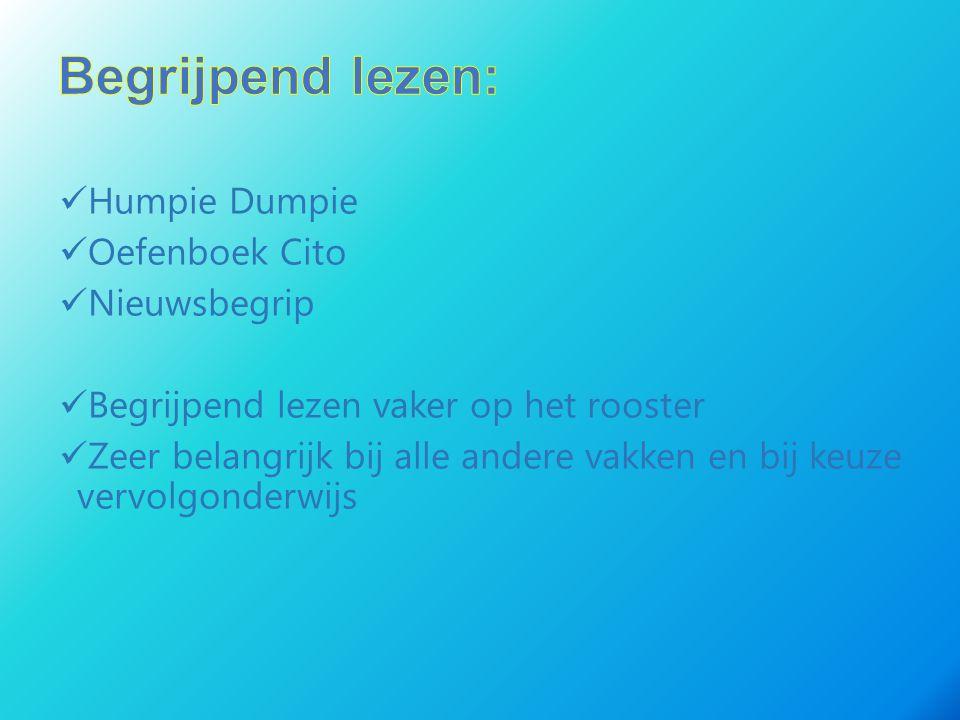 Humpie Dumpie Oefenboek Cito Nieuwsbegrip Begrijpend lezen vaker op het rooster Zeer belangrijk bij alle andere vakken en bij keuze vervolgonderwijs