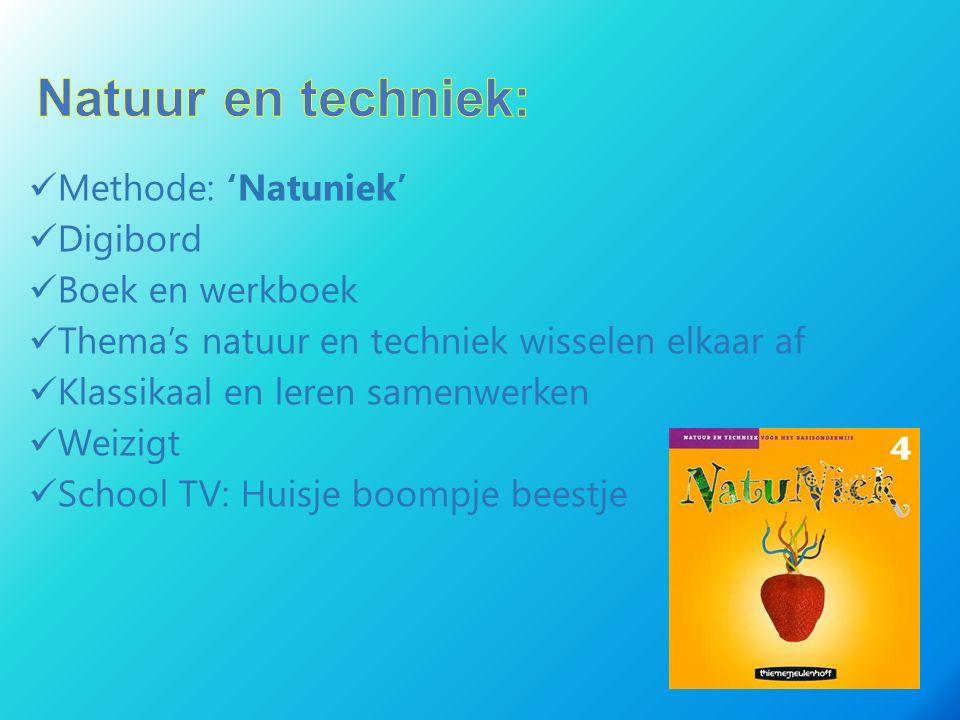 Methode: 'Natuniek' Digibord Boek en werkboek Thema's natuur en techniek wisselen elkaar af Klassikaal en leren samenwerken Weizigt School TV: Huisje