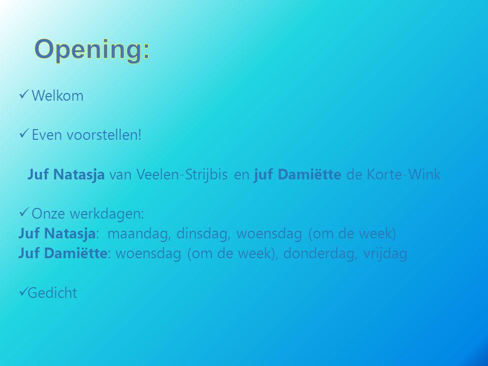 Welkom Even voorstellen! Juf Natasja van Veelen-Strijbis en juf Damiëtte de Korte-Wink Onze werkdagen: Juf Natasja: maandag, dinsdag, woensdag (om de