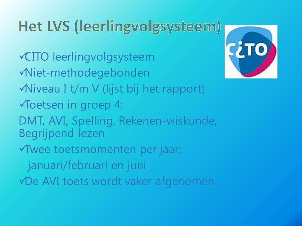 CITO leerlingvolgsysteem Niet-methodegebonden Niveau I t/m V (lijst bij het rapport) Toetsen in groep 4: DMT, AVI, Spelling, Rekenen-wiskunde, Begrijp
