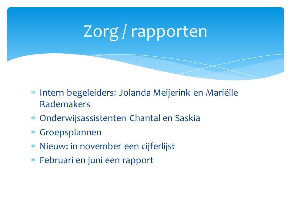  Intern begeleiders: Jolanda Meijerink en Mariëlle Rademakers  Onderwijsassistenten Chantal en Saskia  Groepsplannen  Nieuw: in november een cijferlijst  Februari en juni een rapport Zorg / rapporten