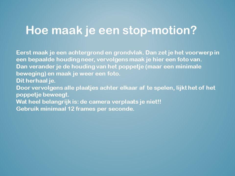 Hoe maak je een stop-motion.Eerst maak je een achtergrond en grondvlak.