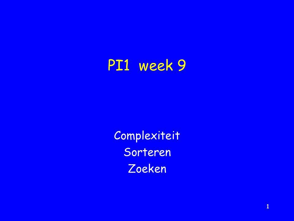 1 PI1 week 9 Complexiteit Sorteren Zoeken