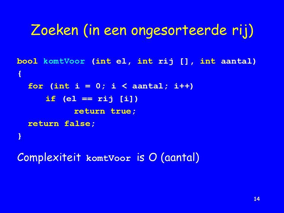 14 Zoeken (in een ongesorteerde rij) bool komtVoor (int el, int rij [], int aantal) { for (int i = 0; i < aantal; i++) if (el == rij [i]) return true; return false; } Complexiteit komtVoor is O (aantal)