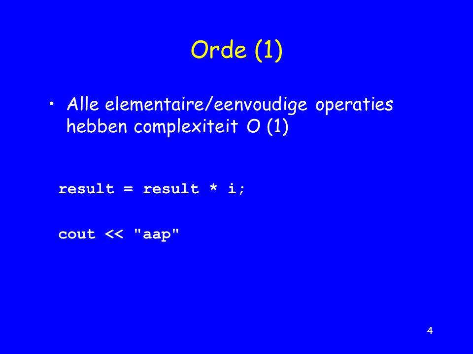 4 Orde (1) result = result * i; cout << aap Alle elementaire/eenvoudige operaties hebben complexiteit O (1)