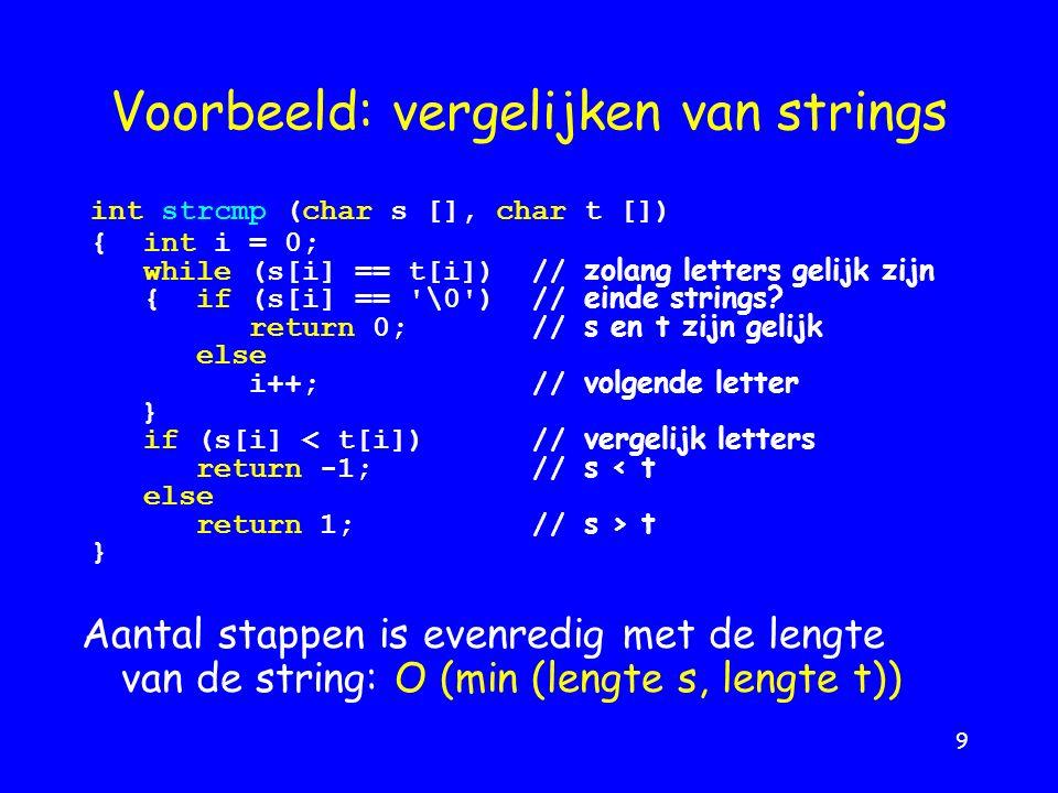 9 Voorbeeld: vergelijken van strings Aantal stappen is evenredig met de lengte van de string: O (min (lengte s, lengte t)) int strcmp (char s [], char t []) {int i = 0; while (s[i] == t[i]) // zolang letters gelijk zijn { if (s[i] == \0 ) // einde strings.