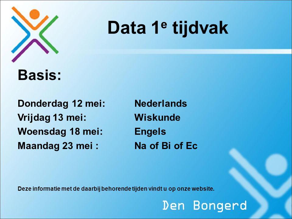 Data 1 e tijdvak Basis: Donderdag 12 mei:Nederlands Vrijdag 13 mei:Wiskunde Woensdag 18 mei:Engels Maandag 23 mei :Na of Bi of Ec Deze informatie met
