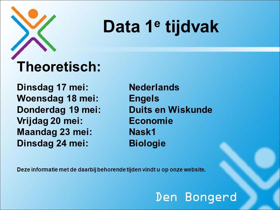 Data 1 e tijdvak Theoretisch: Dinsdag 17 mei: Nederlands Woensdag 18 mei:Engels Donderdag 19 mei: Duits en Wiskunde Vrijdag 20 mei: Economie Maandag 2