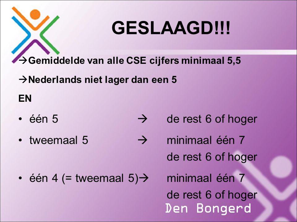 GESLAAGD!!!  Gemiddelde van alle CSE cijfers minimaal 5,5  Nederlands niet lager dan een 5 EN één 5  de rest 6 of hoger tweemaal 5  minimaal één 7