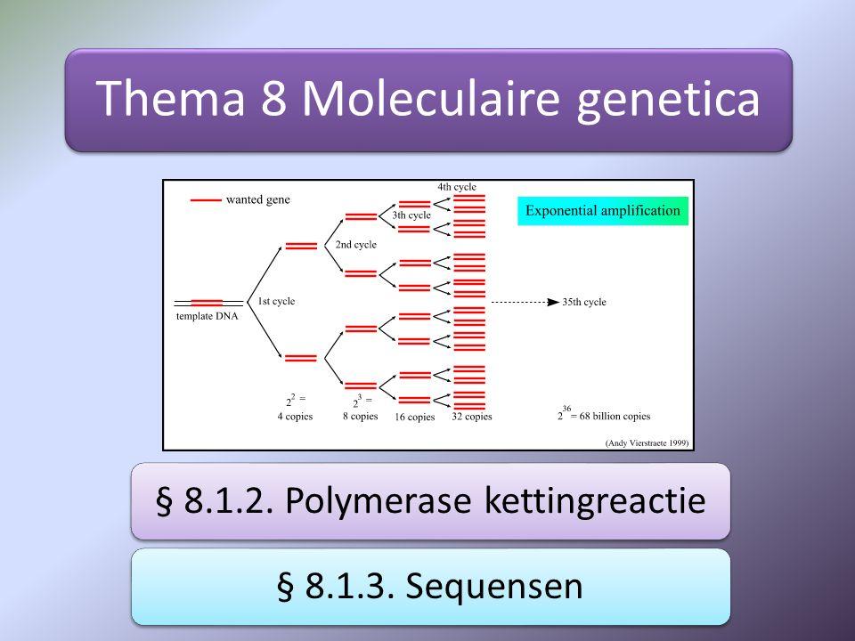 Thema 8 Moleculaire genetica § 8.1.2. Polymerase kettingreactie§ 8.1.3. Sequensen