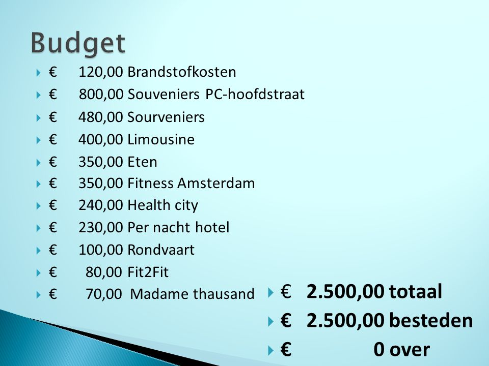  €120,00 Brandstofkosten  € 800,00 Souveniers PC-hoofdstraat  €480,00 Sourveniers  €400,00 Limousine  €350,00 Eten  €350,00 Fitness Amsterdam  €240,00 Health city  €230,00 Per nacht hotel  €100,00 Rondvaart  € 80,00 Fit2Fit  € 70,00 Madame thausand  € 2.500,00 totaal  € 2.500,00 besteden  € 0 over