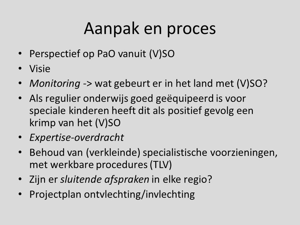 Aanpak en proces Perspectief op PaO vanuit (V)SO Visie Monitoring -> wat gebeurt er in het land met (V)SO? Als regulier onderwijs goed geëquipeerd is