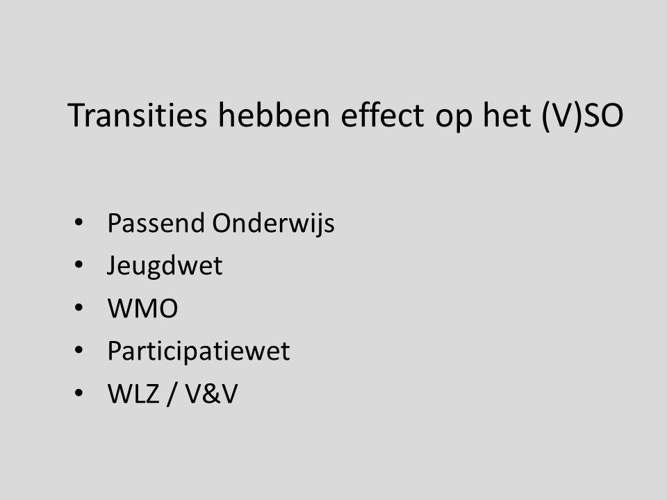Transities hebben effect op het (V)SO Passend Onderwijs Jeugdwet WMO Participatiewet WLZ / V&V