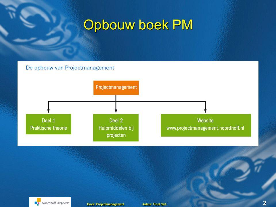 2 Boek: Projectmanagement Auteur: Roel Grit Opbouw boek PM