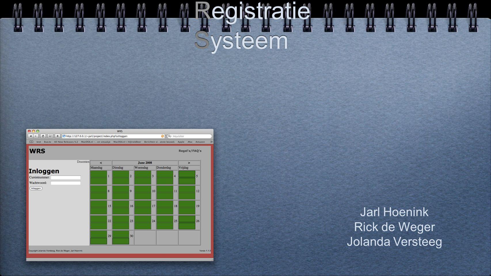 Werkplekken Registratie Systeem Jarl Hoenink Rick de Weger Jolanda Versteeg