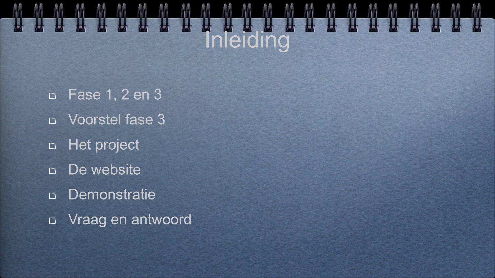Inleiding Fase 1, 2 en 3 Voorstel fase 3 Het project De website Demonstratie Vraag en antwoord