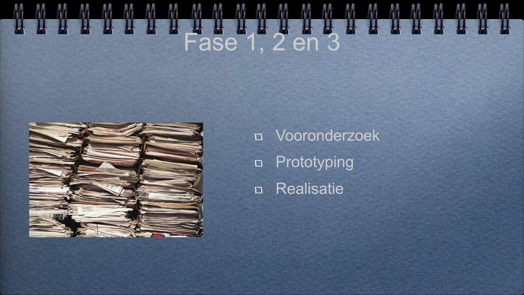 Fase 1, 2 en 3 Vooronderzoek Prototyping Realisatie