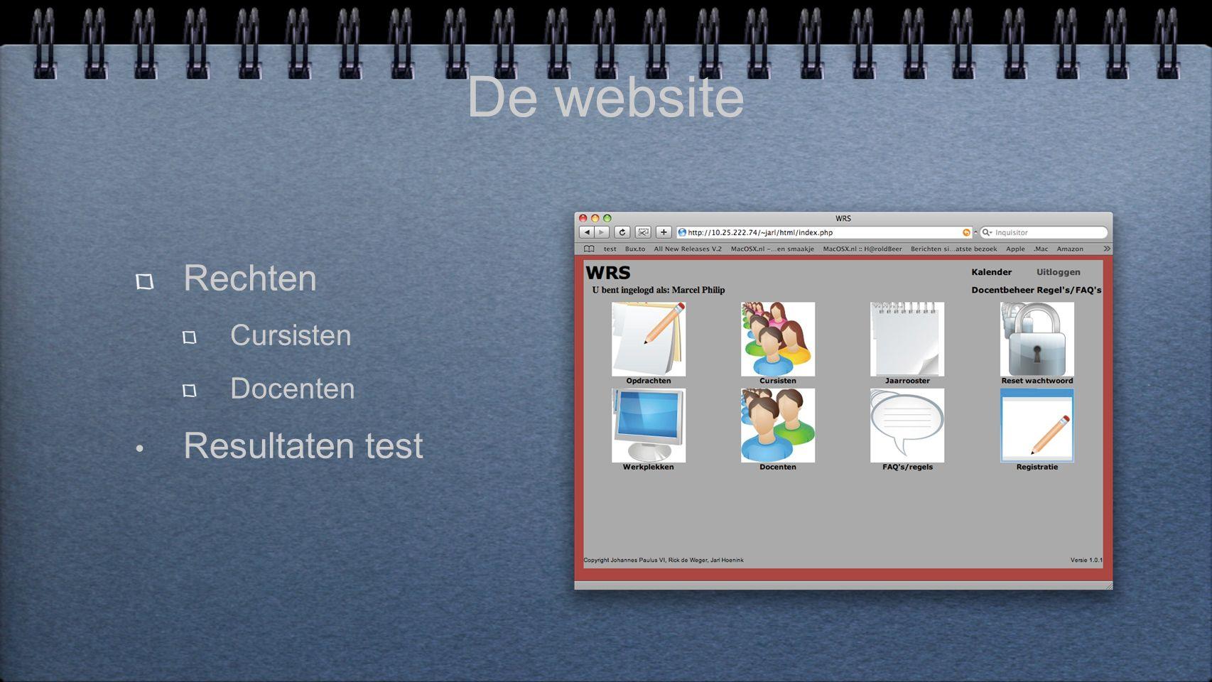 De website Rechten Cursisten Docenten Resultaten test