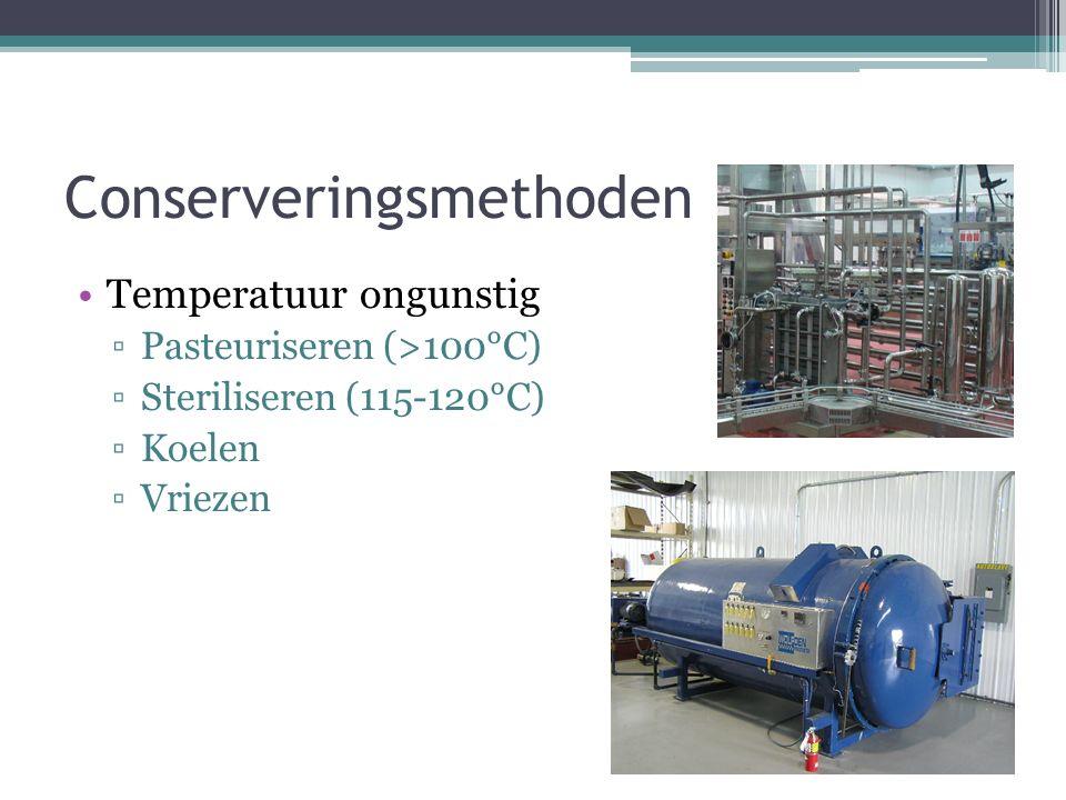 Conserveringsmethoden Temperatuur ongunstig ▫Pasteuriseren (>100°C) ▫Steriliseren (115-120°C) ▫Koelen ▫Vriezen